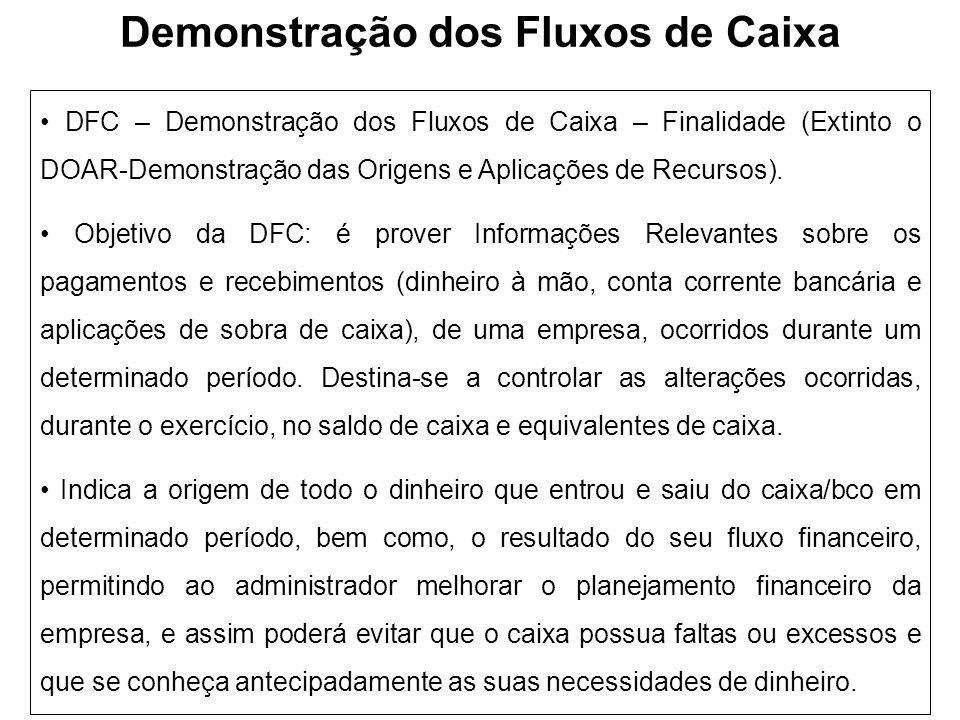 Demonstração dos Fluxos de Caixa DFC – Demonstração dos Fluxos de Caixa – Finalidade (Extinto o DOAR-Demonstração das Origens e Aplicações de Recursos