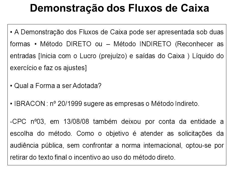 Demonstração dos Fluxos de Caixa A Demonstração dos Fluxos de Caixa pode ser apresentada sob duas formas Método DIRETO ou – Método INDIRETO (Reconhece