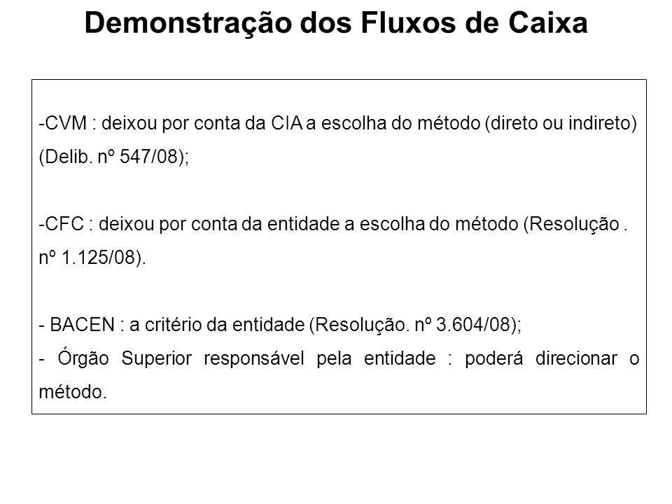 Demonstração dos Fluxos de Caixa -CVM : deixou por conta da CIA a escolha do método (direto ou indireto) (Delib. nº 547/08); -CFC : deixou por conta d
