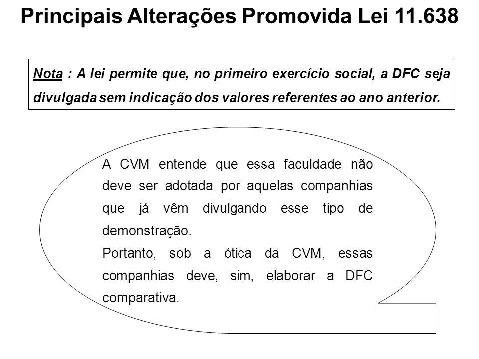 Nota : A lei permite que, no primeiro exercício social, a DFC seja divulgada sem indicação dos valores referentes ao ano anterior. A CVM entende que e
