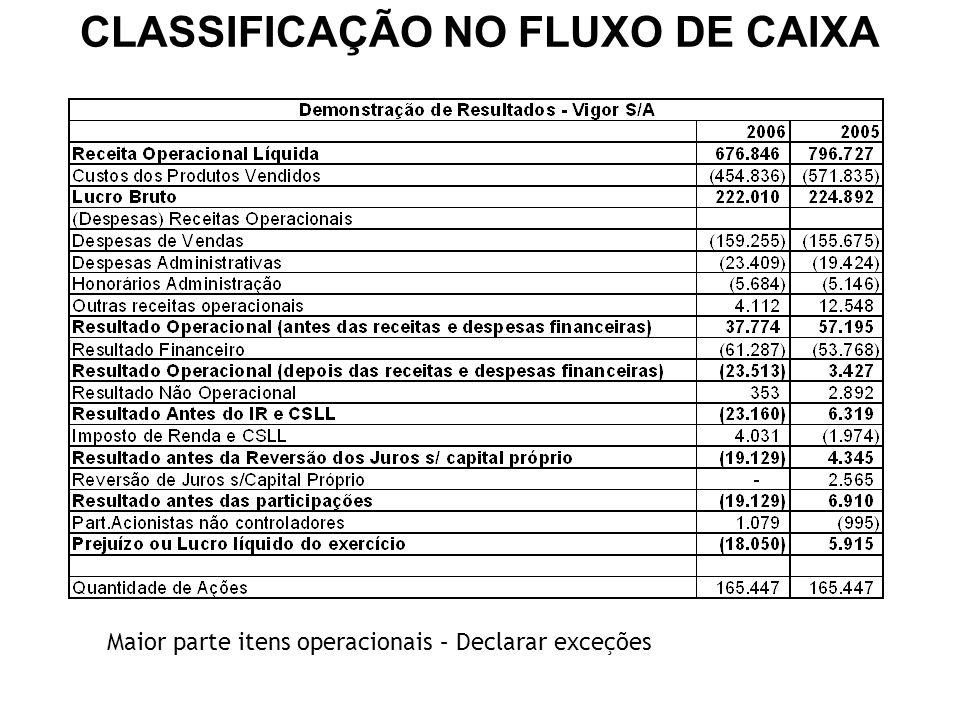 Maior parte itens operacionais – Declarar exceções CLASSIFICAÇÃO NO FLUXO DE CAIXA