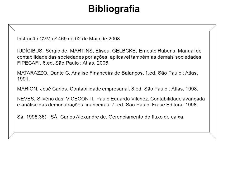 Bibliografia Instrução CVM nº 469 de 02 de Maio de 2008 IUDÍCIBUS, Sérgio de. MARTINS, Eliseu. GELBCKE, Ernesto Rubens. Manual de contabilidade das so