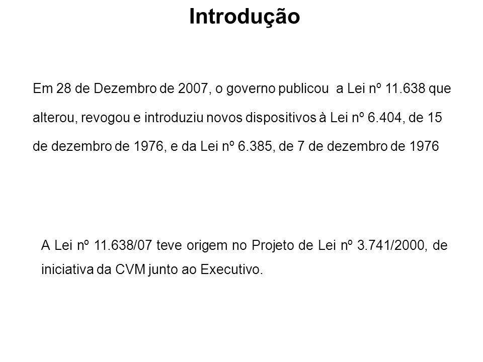 Em 28 de Dezembro de 2007, o governo publicou a Lei nº 11.638 que alterou, revogou e introduziu novos dispositivos à Lei nº 6.404, de 15 de dezembro d