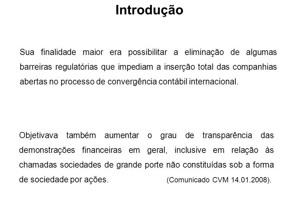 Introdução Sua finalidade maior era possibilitar a eliminação de algumas barreiras regulatórias que impediam a inserção total das companhias abertas n