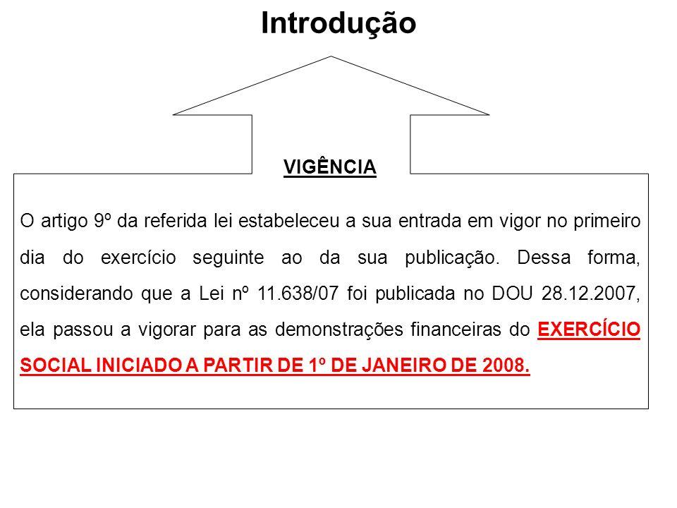 Introdução VIGÊNCIA O artigo 9º da referida lei estabeleceu a sua entrada em vigor no primeiro dia do exercício seguinte ao da sua publicação. Dessa f