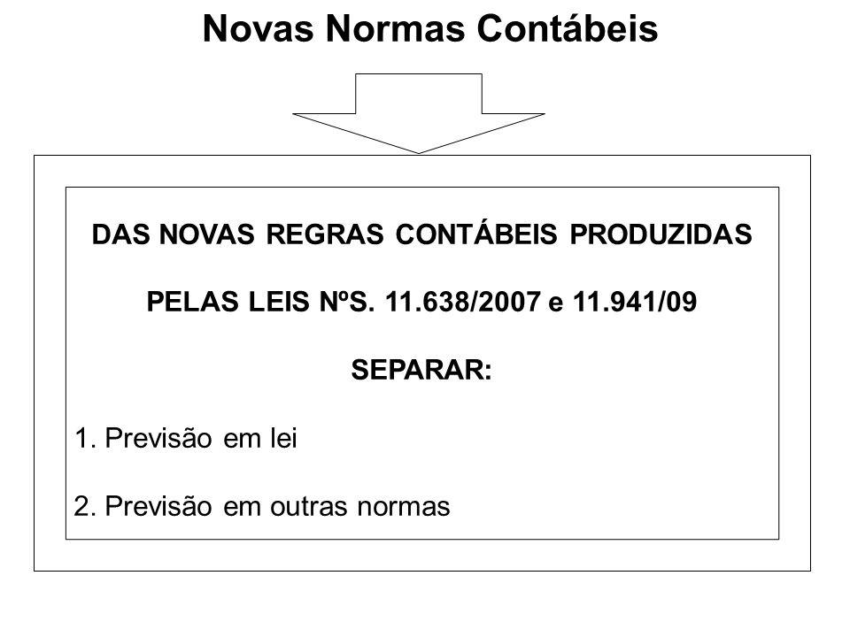 Novas Normas Contábeis DAS NOVAS REGRAS CONTÁBEIS PRODUZIDAS PELAS LEIS NºS. 11.638/2007 e 11.941/09 SEPARAR: 1. Previsão em lei 2. Previsão em outras