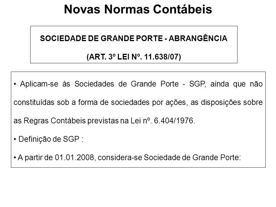 SOCIEDADE DE GRANDE PORTE - ABRANGÊNCIA (ART. 3º LEI Nº. 11.638/07) Aplicam-se às Sociedades de Grande Porte - SGP, ainda que não constituídas sob a f