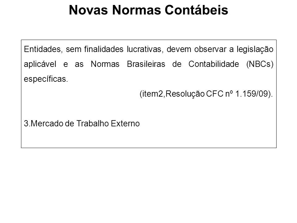 Entidades, sem finalidades lucrativas, devem observar a legislação aplicável e as Normas Brasileiras de Contabilidade (NBCs) específicas. (item2,Resol