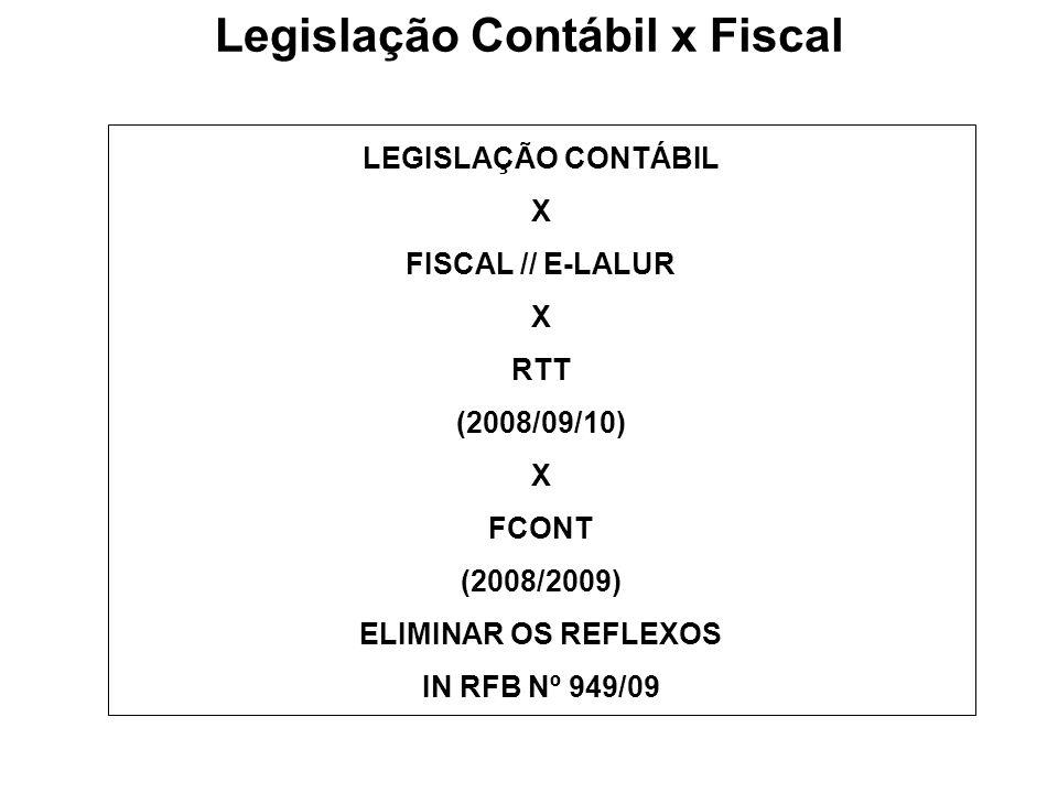 Legislação Contábil x Fiscal LEGISLAÇÃO CONTÁBIL X FISCAL // E-LALUR X RTT (2008/09/10) X FCONT (2008/2009) ELIMINAR OS REFLEXOS IN RFB Nº 949/09