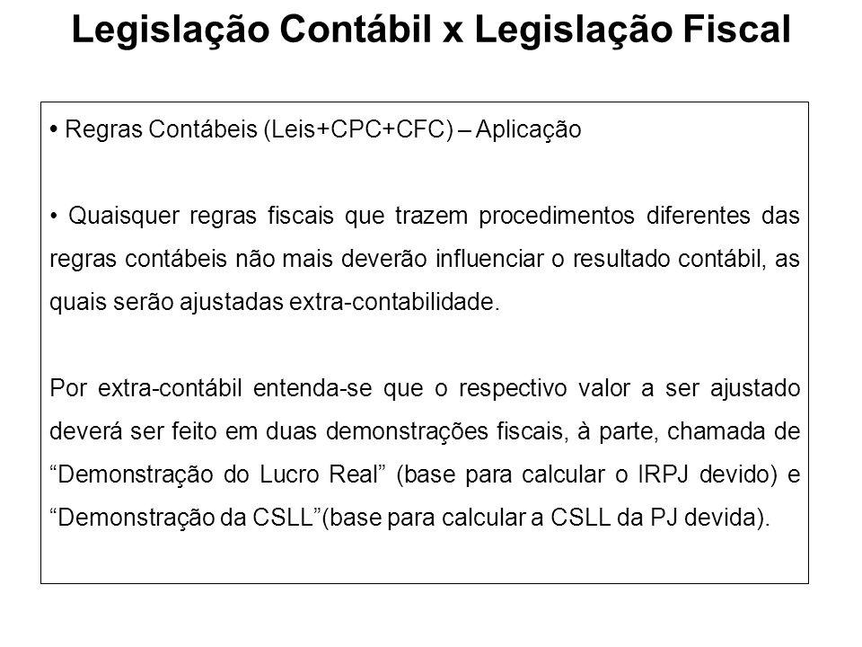 Regras Contábeis (Leis+CPC+CFC) – Aplicação Quaisquer regras fiscais que trazem procedimentos diferentes das regras contábeis não mais deverão influen