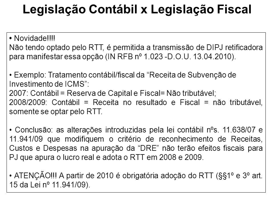 Novidade!!!! Não tendo optado pelo RTT, é permitida a transmissão de DIPJ retificadora para manifestar essa opção (IN RFB nº 1.023 -D.O.U. 13.04.2010)
