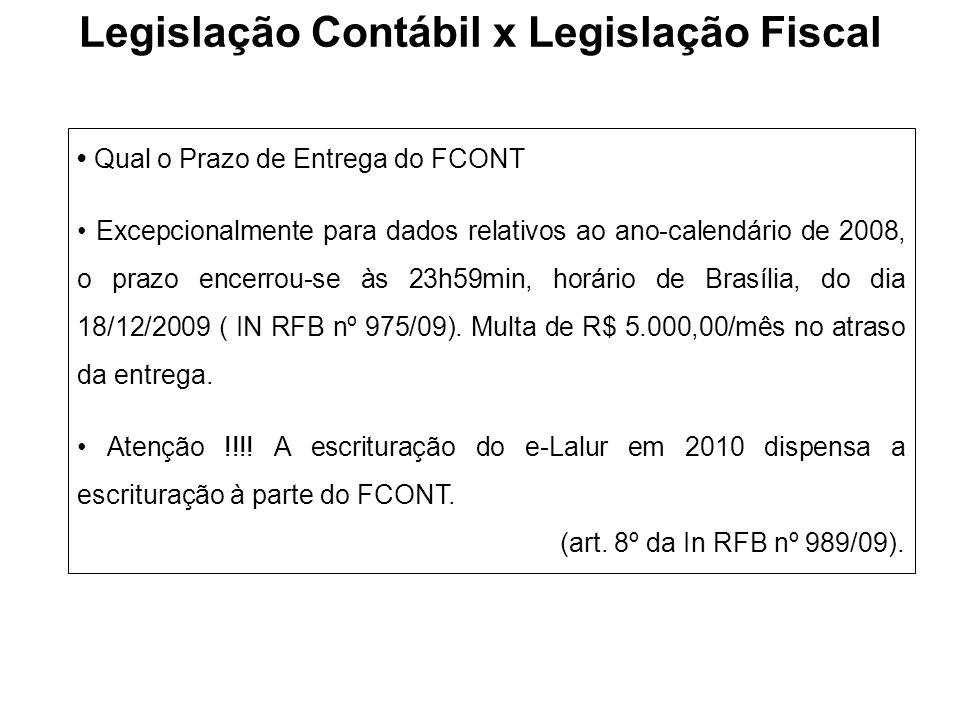 Qual o Prazo de Entrega do FCONT Excepcionalmente para dados relativos ao ano-calendário de 2008, o prazo encerrou-se às 23h59min, horário de Brasília