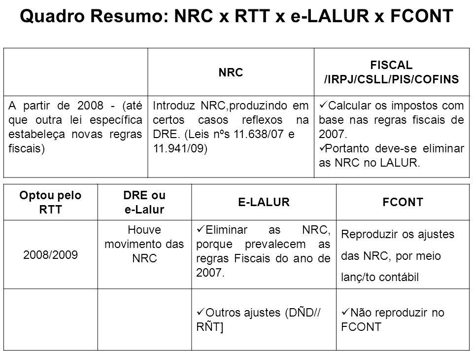 Quadro Resumo: NRC x RTT x e-LALUR x FCONT NRC FISCAL /IRPJ/CSLL/PIS/COFINS A partir de 2008 - (até que outra lei específica estabeleça novas regras f