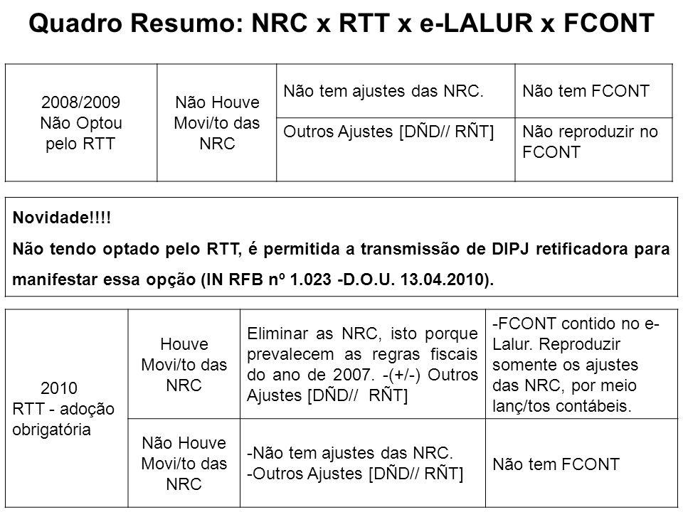 Quadro Resumo: NRC x RTT x e-LALUR x FCONT 2008/2009 Não Optou pelo RTT Não Houve Movi/to das NRC Não tem ajustes das NRC.Não tem FCONT Outros Ajustes