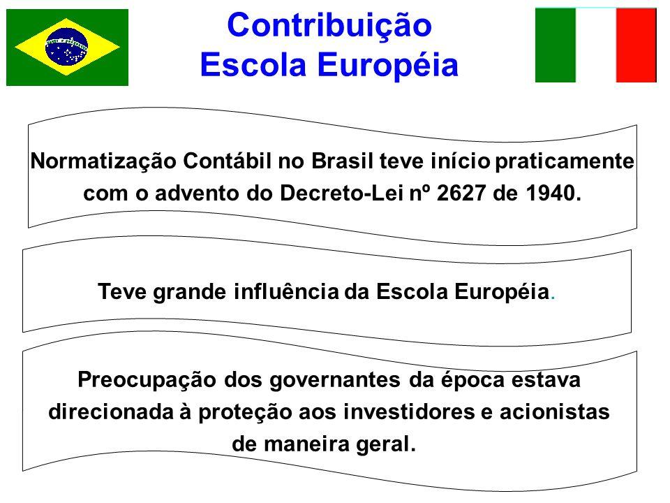 Contribuição Escola Européia Normatização Contábil no Brasil teve início praticamente com o advento do Decreto-Lei nº 2627 de 1940. Preocupação dos go