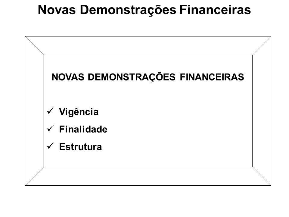 Novas Demonstrações Financeiras NOVAS DEMONSTRAÇÕES FINANCEIRAS Vigência Finalidade Estrutura