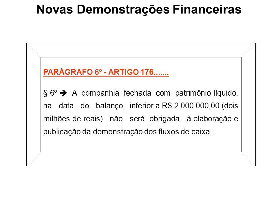 PARÁGRAFO 6º - ARTIGO 176....... § 6º A companhia fechada com patrimônio líquido, na data do balanço, inferior a R$ 2.000.000,00 (dois milhões de reai