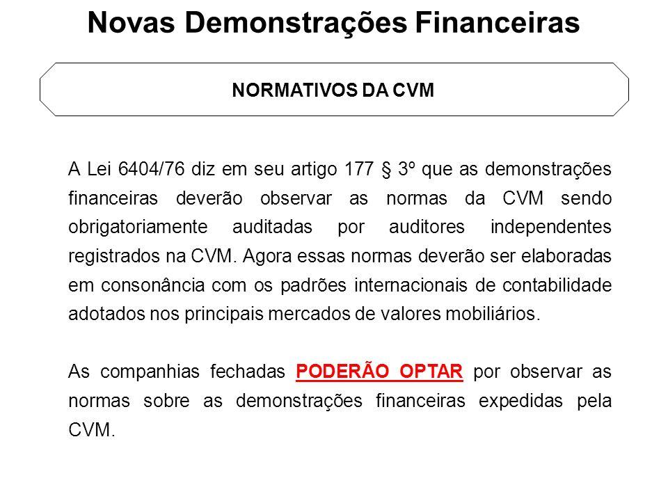 NORMATIVOS DA CVM A Lei 6404/76 diz em seu artigo 177 § 3º que as demonstrações financeiras deverão observar as normas da CVM sendo obrigatoriamente a
