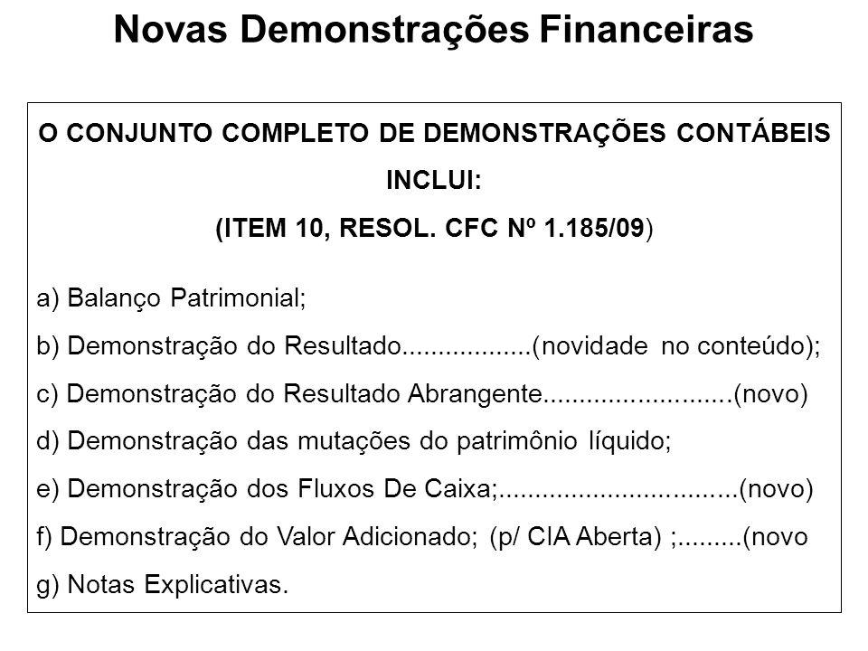 O CONJUNTO COMPLETO DE DEMONSTRAÇÕES CONTÁBEIS INCLUI: (ITEM 10, RESOL. CFC Nº 1.185/09) a) Balanço Patrimonial; b) Demonstração do Resultado.........