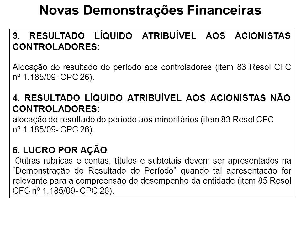 3. RESULTADO LÍQUIDO ATRIBUÍVEL AOS ACIONISTAS CONTROLADORES: Alocação do resultado do período aos controladores (item 83 Resol CFC nº 1.185/09- CPC 2