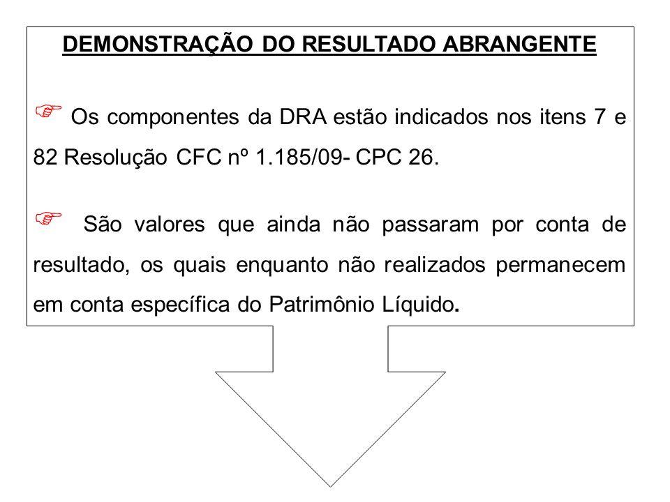 DEMONSTRAÇÃO DO RESULTADO ABRANGENTE Os componentes da DRA estão indicados nos itens 7 e 82 Resolução CFC nº 1.185/09- CPC 26. São valores que ainda n
