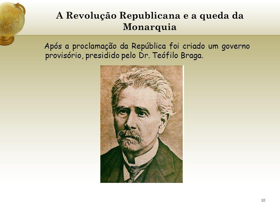 10 A Revolução Republicana e a queda da Monarquia Após a proclamação da República foi criado um governo provisório, presidido pelo Dr. Teófilo Braga.