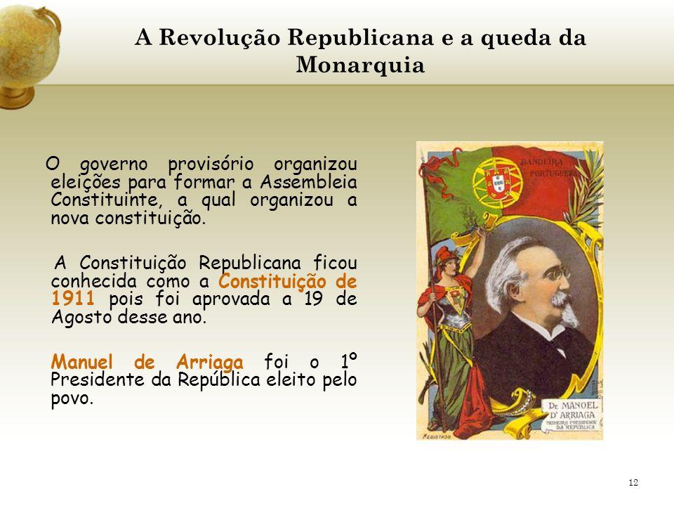 12 A Revolução Republicana e a queda da Monarquia O governo provisório organizou eleições para formar a Assembleia Constituinte, a qual organizou a no