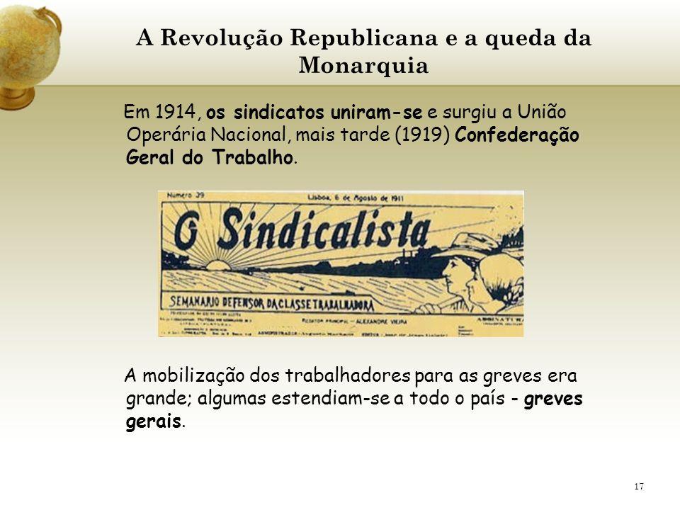 17 A Revolução Republicana e a queda da Monarquia Em 1914, os sindicatos uniram-se e surgiu a União Operária Nacional, mais tarde (1919) Confederação