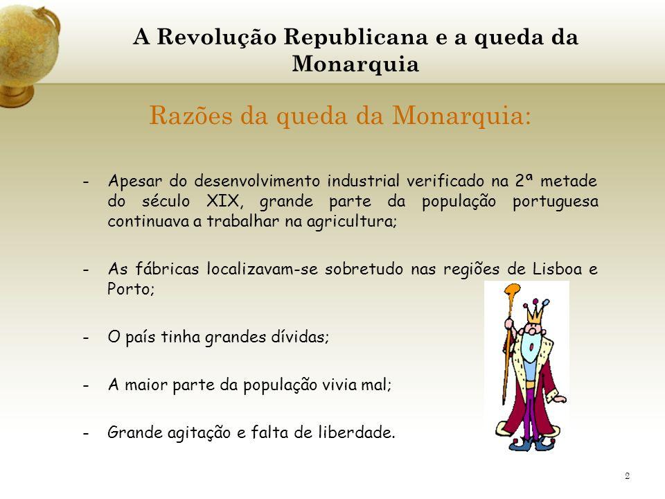 2 Razões da queda da Monarquia: -Apesar do desenvolvimento industrial verificado na 2ª metade do século XIX, grande parte da população portuguesa cont