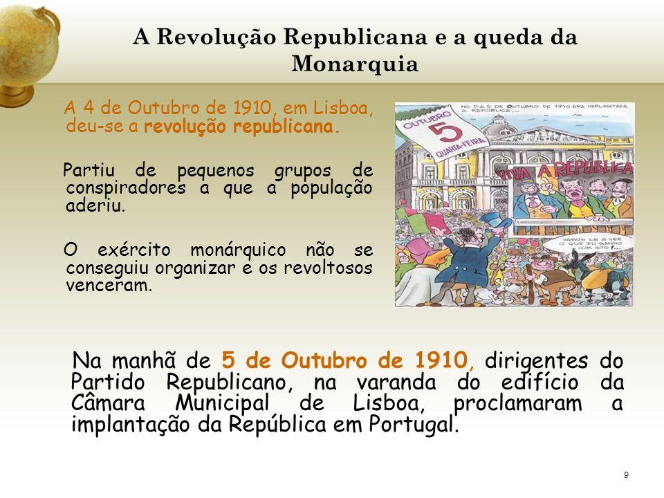 9 A Revolução Republicana e a queda da Monarquia A 4 de Outubro de 1910, em Lisboa, deu-se a revolução republicana. Partiu de pequenos grupos de consp