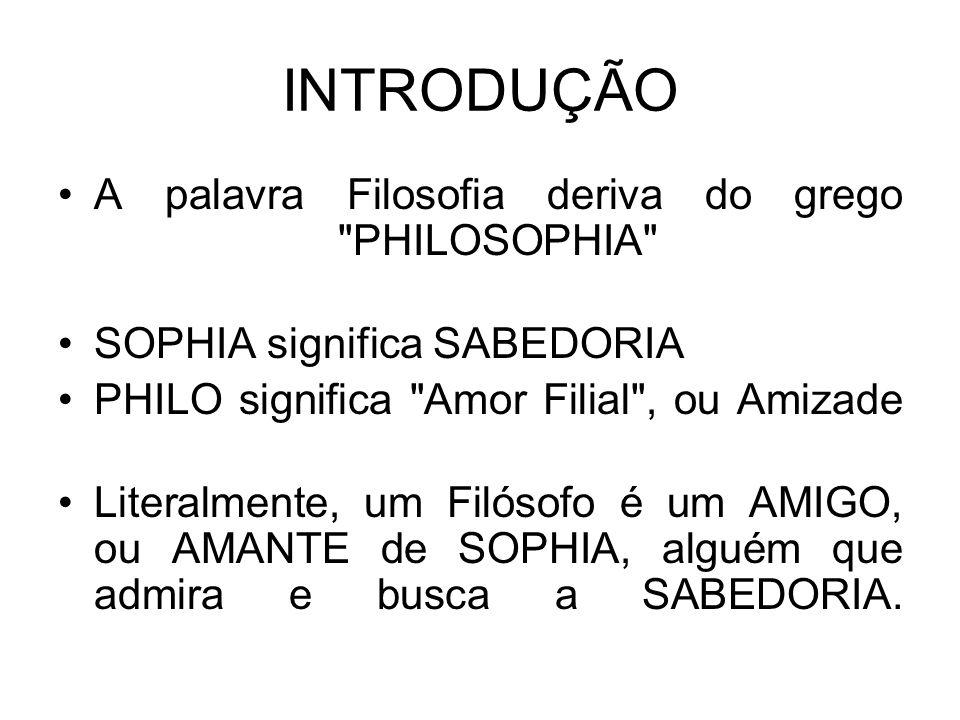 INTRODUÇÃO A palavra Filosofia deriva do grego