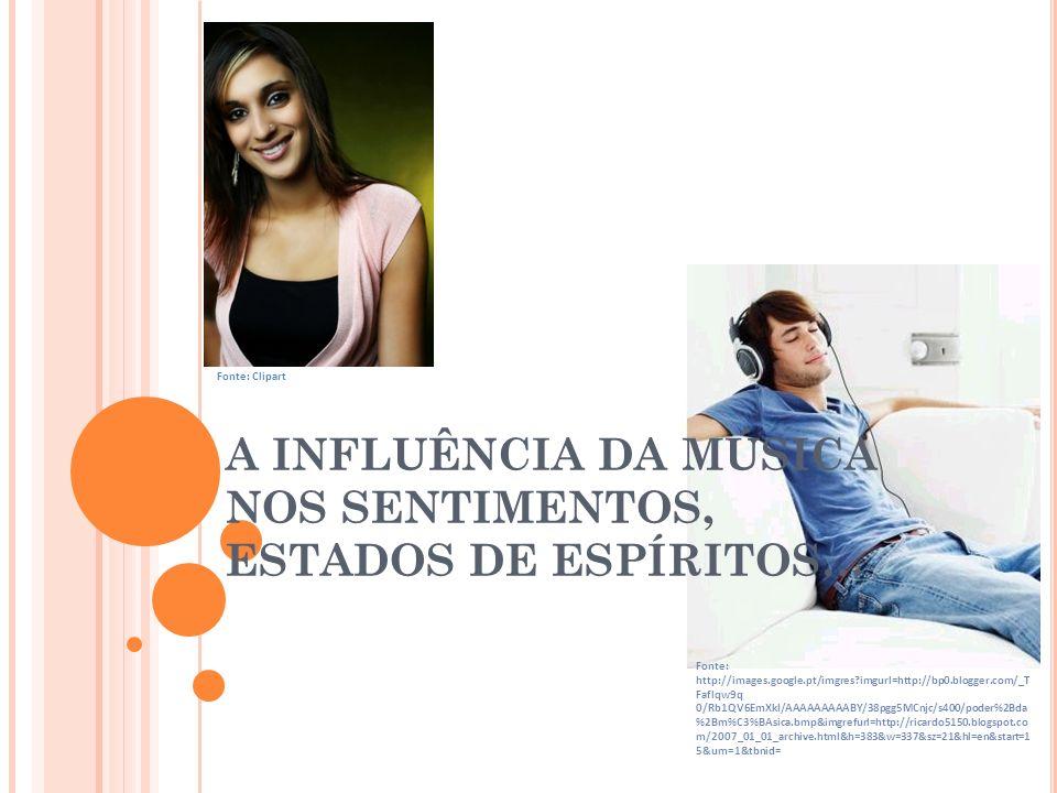 A INFLUÊNCIA DA MÚSICA NOS SENTIMENTOS, ESTADOS DE ESPÍRITOS… Fonte: Clipart Fonte: http://images.google.pt/imgres?imgurl=http://bp0.blogger.com/_T Fa