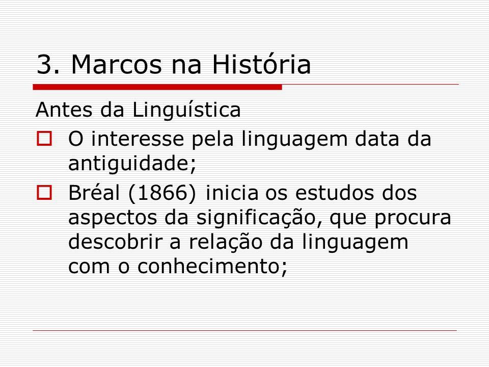 3. Marcos na História Antes da Linguística O interesse pela linguagem data da antiguidade; Bréal (1866) inicia os estudos dos aspectos da significação