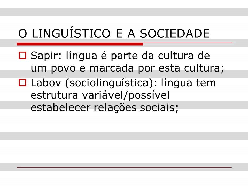 O LINGUÍSTICO E A SOCIEDADE Sapir: língua é parte da cultura de um povo e marcada por esta cultura; Labov (sociolinguística): língua tem estrutura var