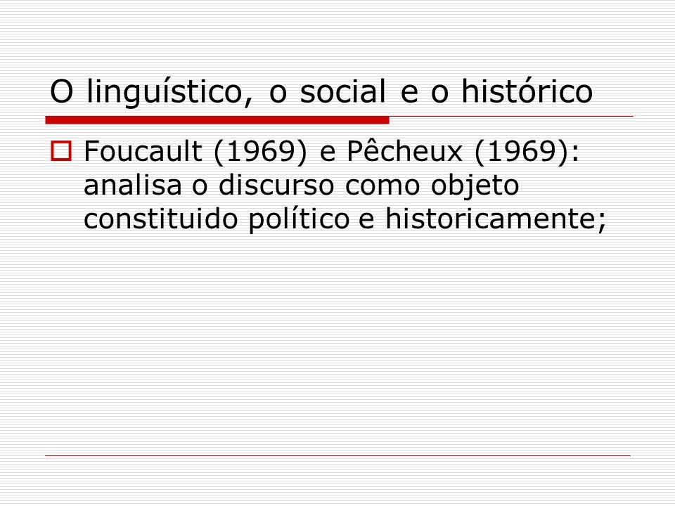 O linguístico, o social e o histórico Foucault (1969) e Pêcheux (1969): analisa o discurso como objeto constituido político e historicamente;