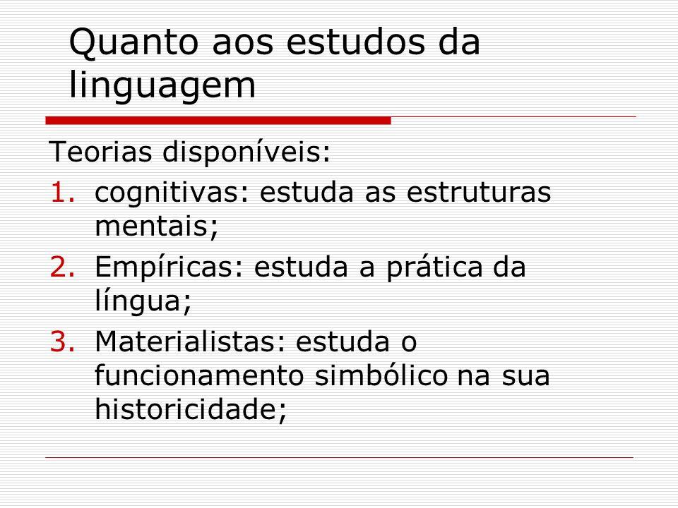 Quanto aos estudos da linguagem Teorias disponíveis: 1.cognitivas: estuda as estruturas mentais; 2.Empíricas: estuda a prática da língua; 3.Materialis