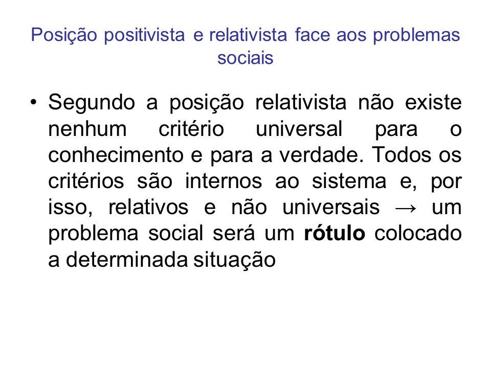 Posição positivista e relativista face aos problemas sociais Segundo a posição relativista não existe nenhum critério universal para o conhecimento e