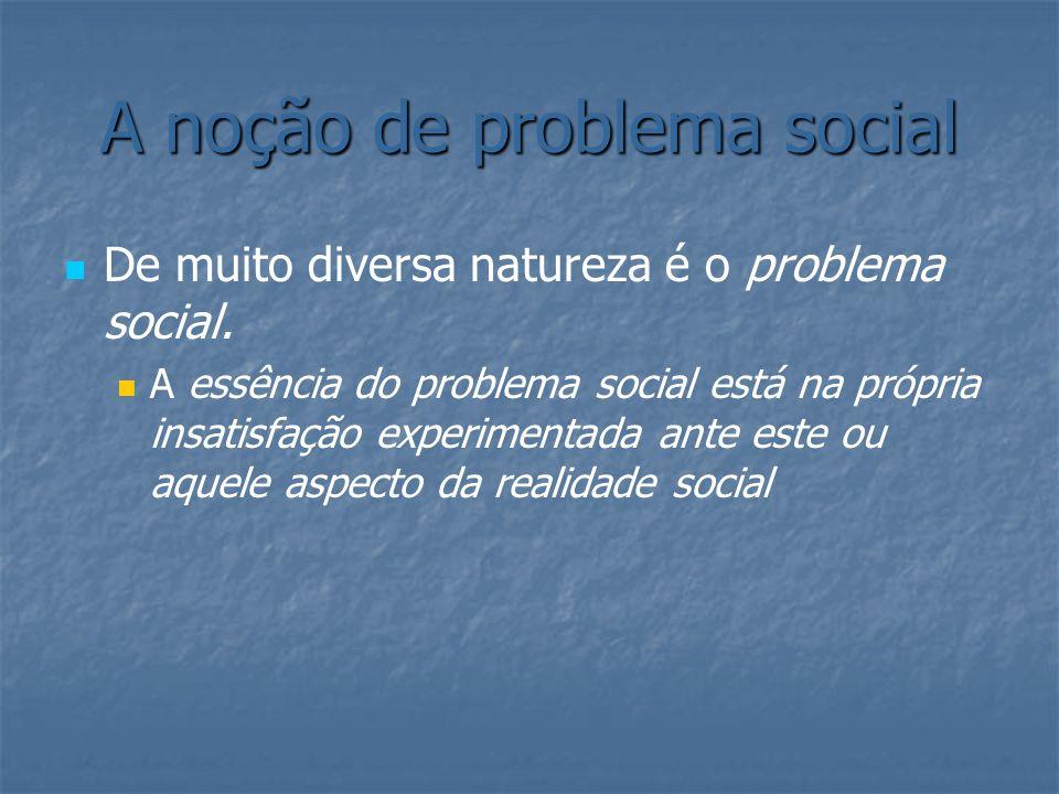 A noção de problema social De muito diversa natureza é o problema social. A essência do problema social está na própria insatisfação experimentada ant