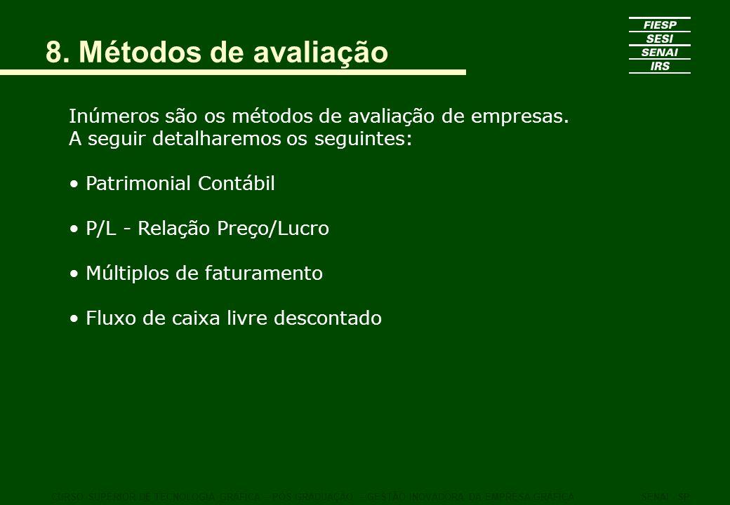 8. Métodos de avaliação Inúmeros são os métodos de avaliação de empresas. A seguir detalharemos os seguintes: Patrimonial Contábil P/L - Relação Preço