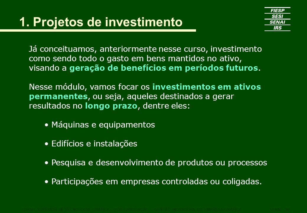 1. Projetos de investimento Já conceituamos, anteriormente nesse curso, investimento como sendo todo o gasto em bens mantidos no ativo, visando a gera