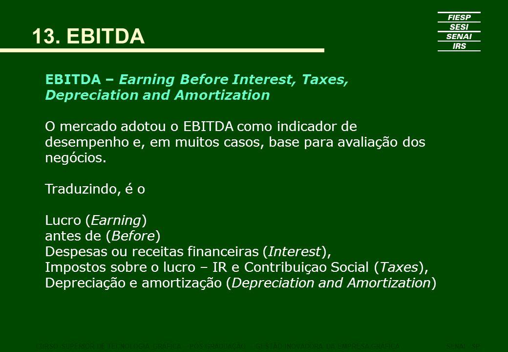 13. EBITDA CURSO SUPERIOR DE TECNOLOGIA GRÁFICA – PÓS GRADUAÇÃO – GESTÃO INOVADORA DA EMPRESA GRÁFICASENAI - SP EBITDA – Earning Before Interest, Taxe