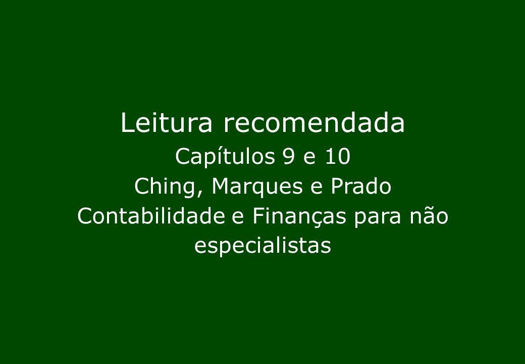 Leitura recomendada Capítulos 9 e 10 Ching, Marques e Prado Contabilidade e Finanças para não especialistas