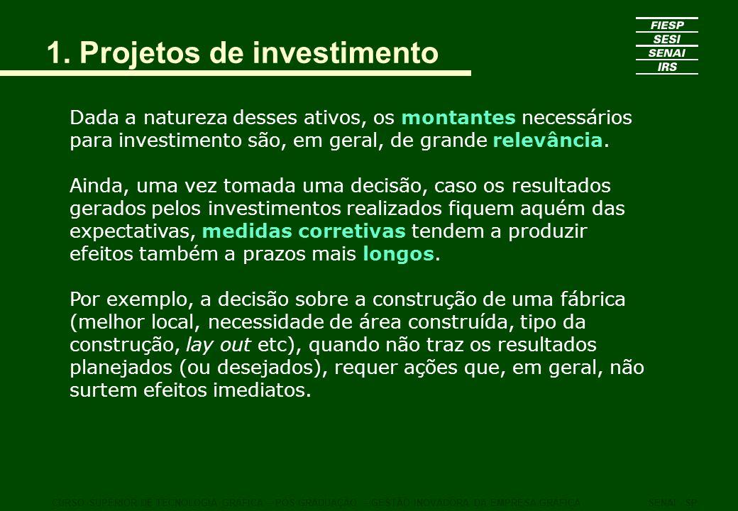 1. Projetos de investimento Dada a natureza desses ativos, os montantes necessários para investimento são, em geral, de grande relevância. Ainda, uma