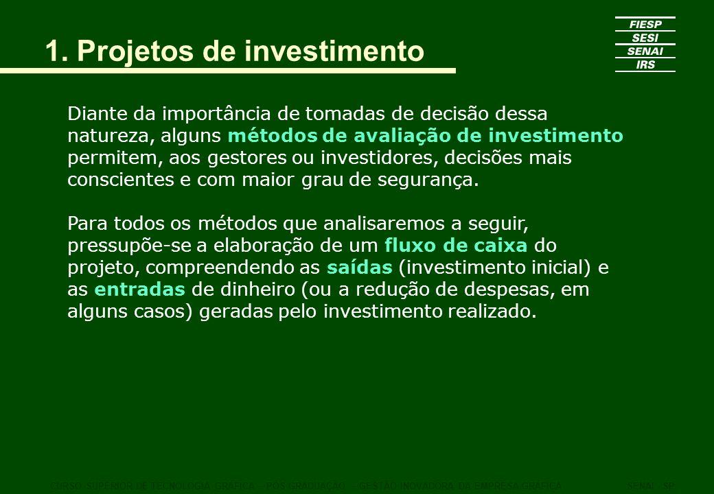 1. Projetos de investimento Diante da importância de tomadas de decisão dessa natureza, alguns métodos de avaliação de investimento permitem, aos gest