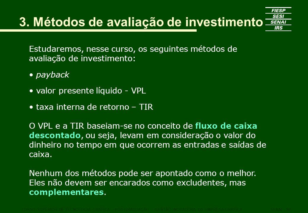 3. Métodos de avaliação de investimento Estudaremos, nesse curso, os seguintes métodos de avaliação de investimento: payback valor presente líquido -