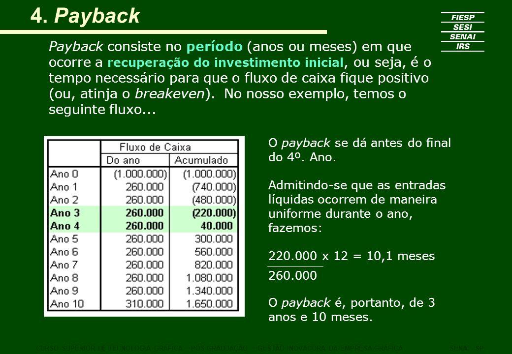 4. Payback Payback consiste no período (anos ou meses) em que ocorre a recuperação do investimento inicial, ou seja, é o tempo necessário para que o f