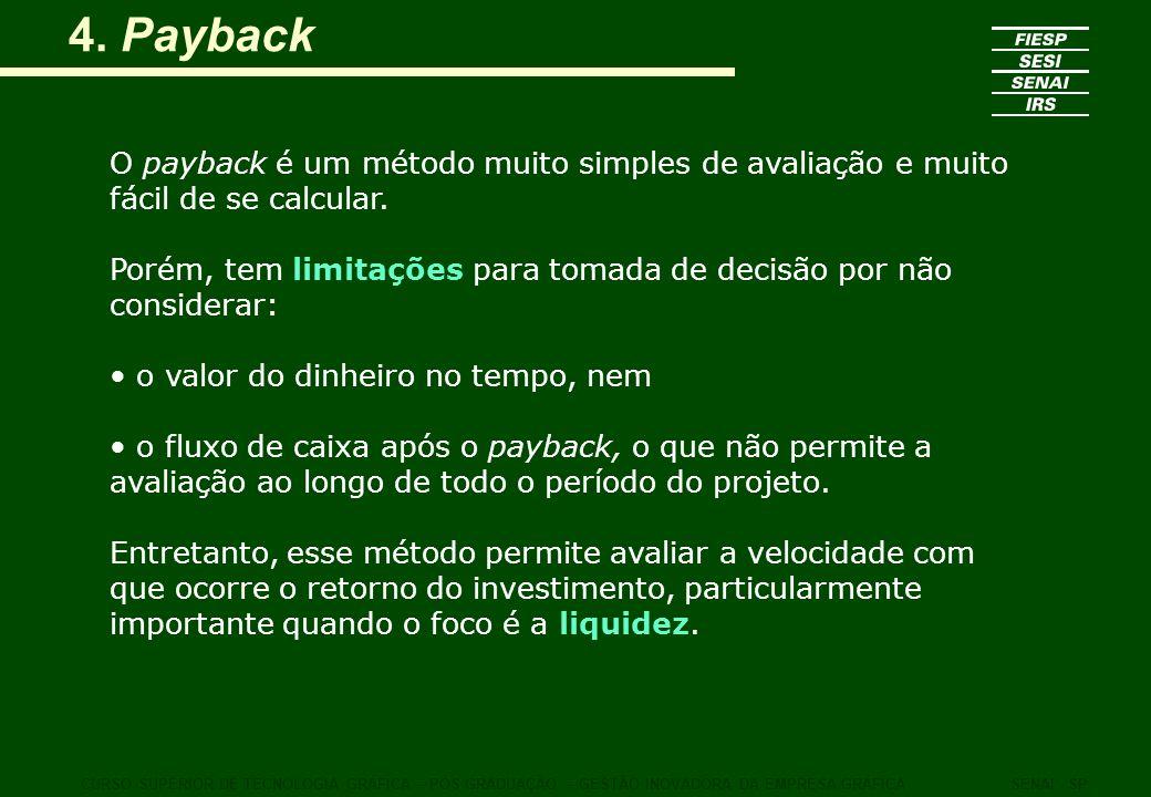 4. Payback O payback é um método muito simples de avaliação e muito fácil de se calcular. Porém, tem limitações para tomada de decisão por não conside