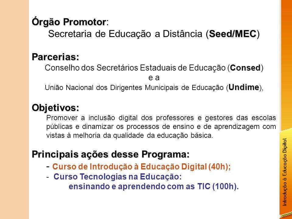 Órgão Promotor Órgão Promotor: Seed/MEC Secretaria de Educação a Distância (Seed/MEC)Parcerias: Consed Conselho dos Secretários Estaduais de Educação
