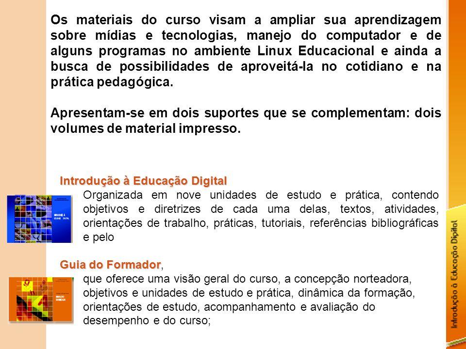 um volume de material digital apresentado em CD-ROM, constituído por textos em outros meios (sons, imagens, vídeos) e estruturas (hipertextos), como base para experimentar navegação e interações com os temas tratados nas unidades de estudo e prática.