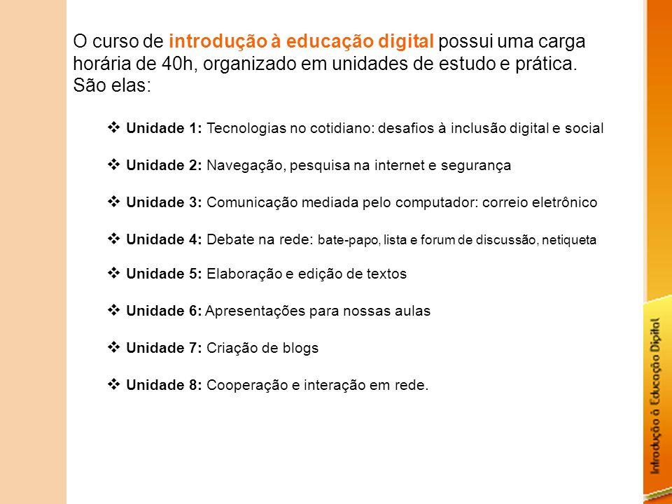 O curso de introdução à educação digital possui uma carga horária de 40h, organizado em unidades de estudo e prática. São elas: Unidade 1: Tecnologias